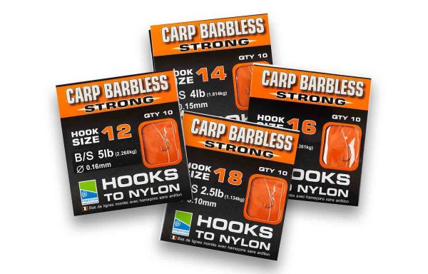 Preston Innovations Carp Barbless Strong Hooks to Nylon