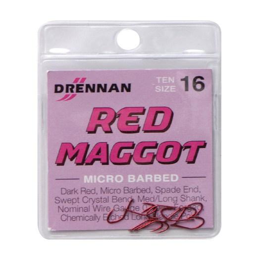 Drennan New Generation Spade End Micro Barbed Red Maggot Hooks